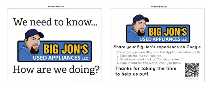 Big Jon's Used Appliances Review Card