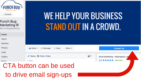 Facebook CTA button can be used to grow your email list