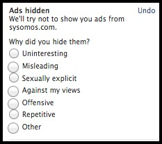 Why did you choose to hide a facebook ad?