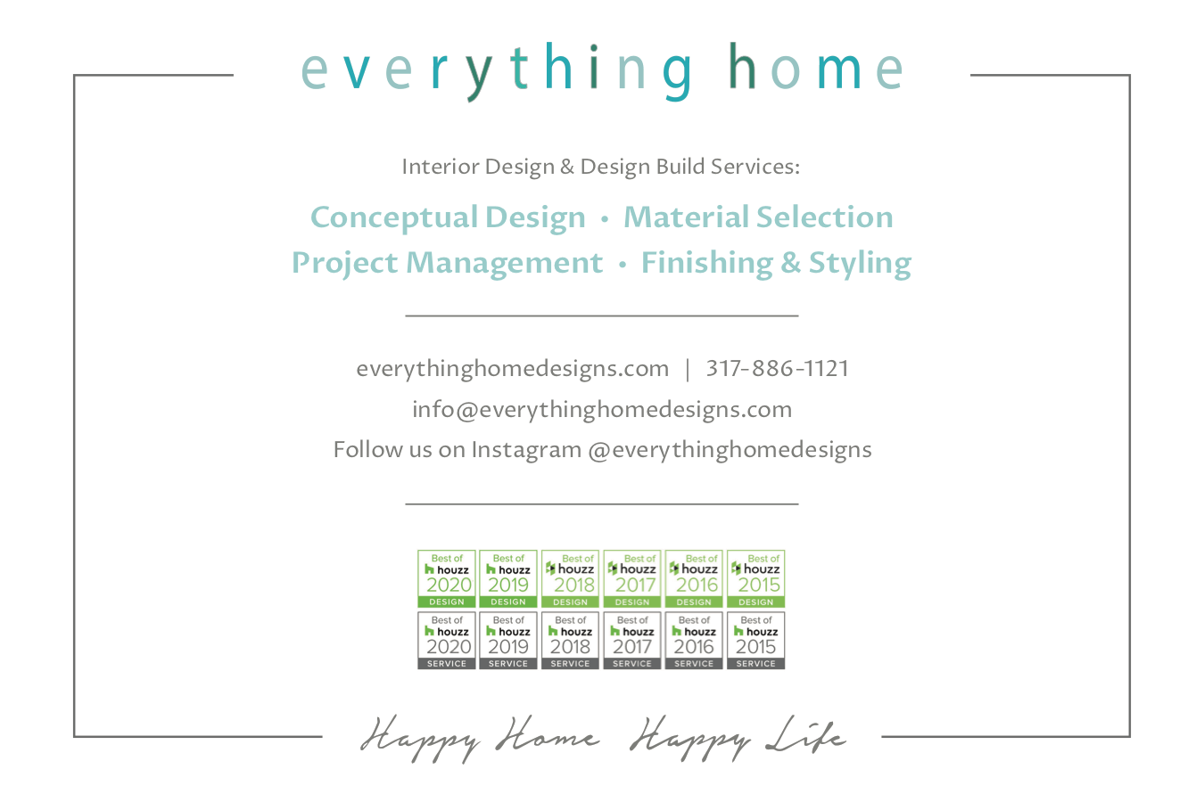Everything Home Service Card - Back