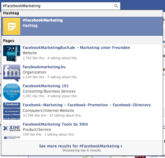 Facebook hashtag search