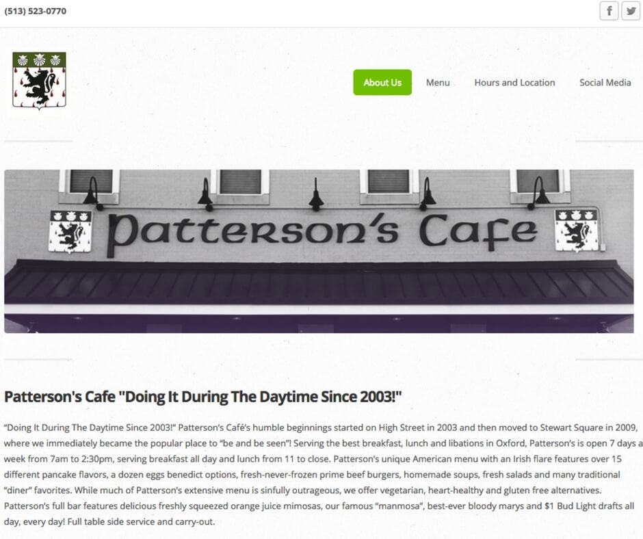 patterson's cafe before