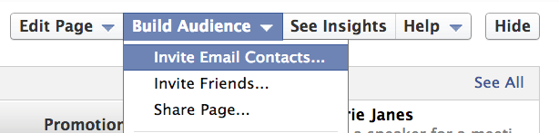 inviting email contacts to facebook