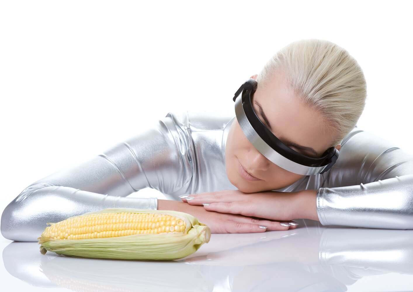 Stock Photo Example Cyber Woman With Corn